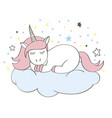 funny cartoon unicorn character sleeping on cloud vector image vector image