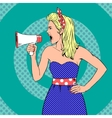 Girl with megaphone or loudspeaker in pop-art vector image