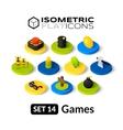 Isometric flat icons set 14 vector image vector image
