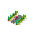 isometric red car vector image vector image