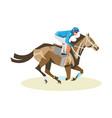 jockey on white horse vector image