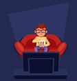 man sitting at couch watch tv eating popcorn vector image