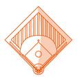monocromatic baseball field design vector image vector image