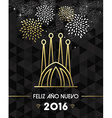 New Year 2016 spain sagrada familia travel gold vector image vector image