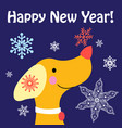 new year card with a yellow dog vector image vector image