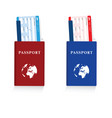 passport in red and blue color with air ticket set vector image vector image