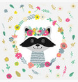 raccoon with flowers vector image vector image