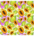 seamless pattern papaya fruits exotic ornament vector image vector image