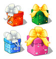 set gift boxes green blue red and pink color vector image vector image