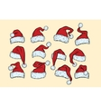 set hats Santa Claus Christmas collection vector image vector image