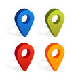 set map pin icons with shadow isolated on vector image