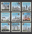 Set stamps with different city and landmarks