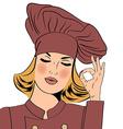 Sexy blonde chef woman in uniform gesturing ok vector image vector image
