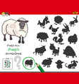 shadows game with sheep characters vector image vector image