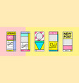 stories template set in memphis retro style vector image