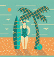 summer poster beach palm and girl with surfboard vector image