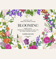 summer wedding invitation with flowers vector image