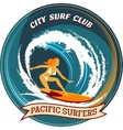 Surfing badge design with a girl surfing vector image vector image