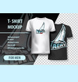 t-shirt mockup with yacht phrase in two colors vector image