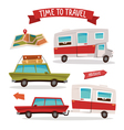 Travel Transportation Set Travel Camper Family Van vector image vector image