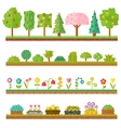 Trendy beautiful set of flat plants forest vector image vector image