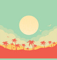 tropical island paradise background with palms vector image vector image