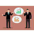 Two business men discussing financial planning vector image vector image