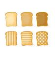 white bread set of 6 slices toast bread vector image vector image