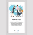 working task teamwork boss and employees slider vector image vector image