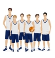 Young guys school basketball team with coach vector image