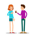 young man offers a cup of coffee to a girl vector image vector image
