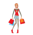 young woman makes shopping vector image vector image