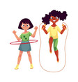 two girls playing with jumping rope and hula hoop vector image