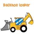 Yellow backhoe loader art vector image