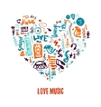 Love music colorful hand drawn doodles in vector image