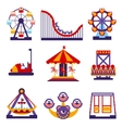 Amusement Park Icons Set of Flat Design vector image