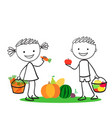 boy and girl holding carrot and apples vector image vector image
