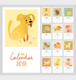 calendar 2018 cute monthly vector image vector image