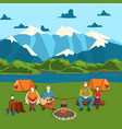 camping tent banner with flat tourist outdoor vector image