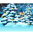 christmas tree with glowing garlands vector image vector image
