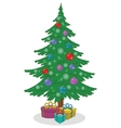 Christmas tree with toys and gift boxes vector image