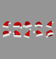 collection red santa claus hats isolated vector image