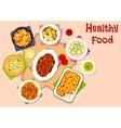 Dinner menu with healthy dessert icon