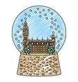 doodle london clock tower inside snow glass vector image