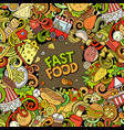 fastfood hand drawn doodles vector image vector image