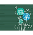floral background with cartoon dragonflies vector image