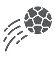 flying soccer ball glyph icon game and sport vector image vector image