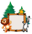 frame template with lion and zebra vector image vector image