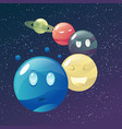 funny cartoon colorful planets set vector image vector image