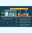 gas filling station with red car vector image